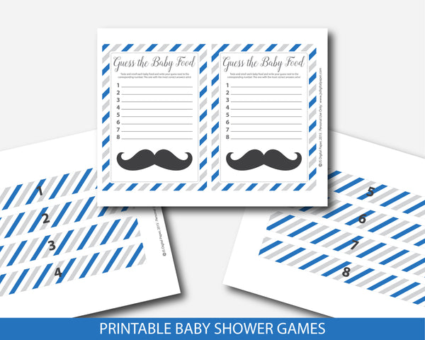 Mustache baby shower food game in royal blue and gray, Guess the baby food, BM3-13