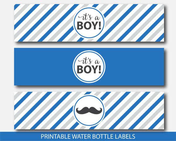Mustache water bottle labels in royal blue and gray, Mustache baby shower drinking labels, Mustache water wrap labels, BM3-18