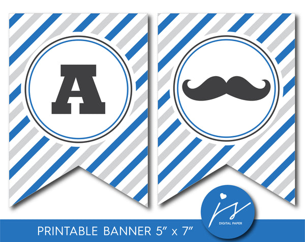 Mustache banner in royal blue and gray, Mustache baby shower and birthday bunting banner, Mustache theme party, BM3-19
