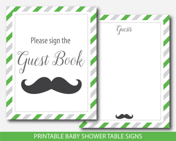 Little man baby shower signs in green & gray, Little man decor and table signs, Little man table signs, BM4-07
