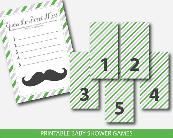 Little man guess the sweet mess game, Little man dirty diapers baby shower game in green and gray, Little man diaper game card & sign, BM4-11