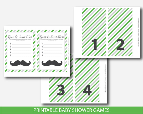 Little man guess the sweet mess game, Little man dirty diapers baby shower game in green and gray, BM4-11