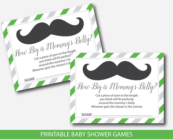 Little man belly game, Little man how big is mommy´s belly baby shower game in green and gray, BM4-12