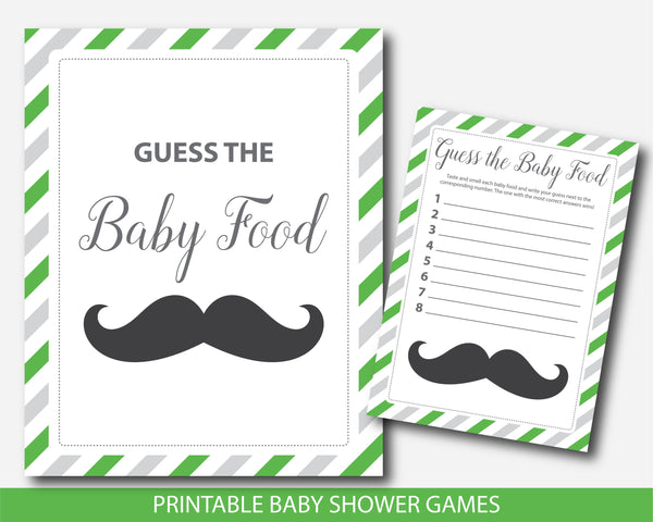Little man baby shower food game in green and gray, Guess the baby food, BM4-13