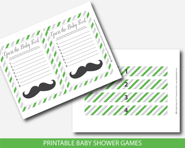 Little man baby shower food game in green and gray, Guess the baby food, Little man food guessing game, BM4-13