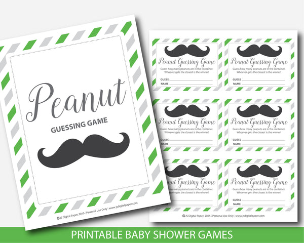 Little man peanut guessing game in green and gray, Mustache candy guessing game, Little man jelly bean game, BM4-14