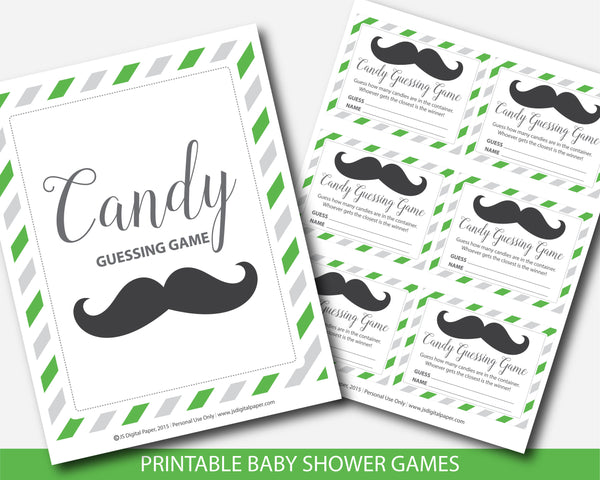 Little man candy guessing game in green and gray, Mustache peanut guessing game, Little man jelly bean game, BM4-16