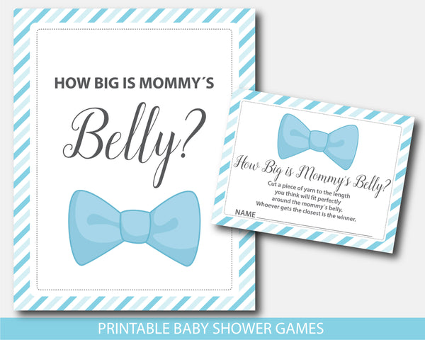 Bowtie belly game, Bowtie how big is mommy´s belly baby shower game with blue stripes, BM5-12