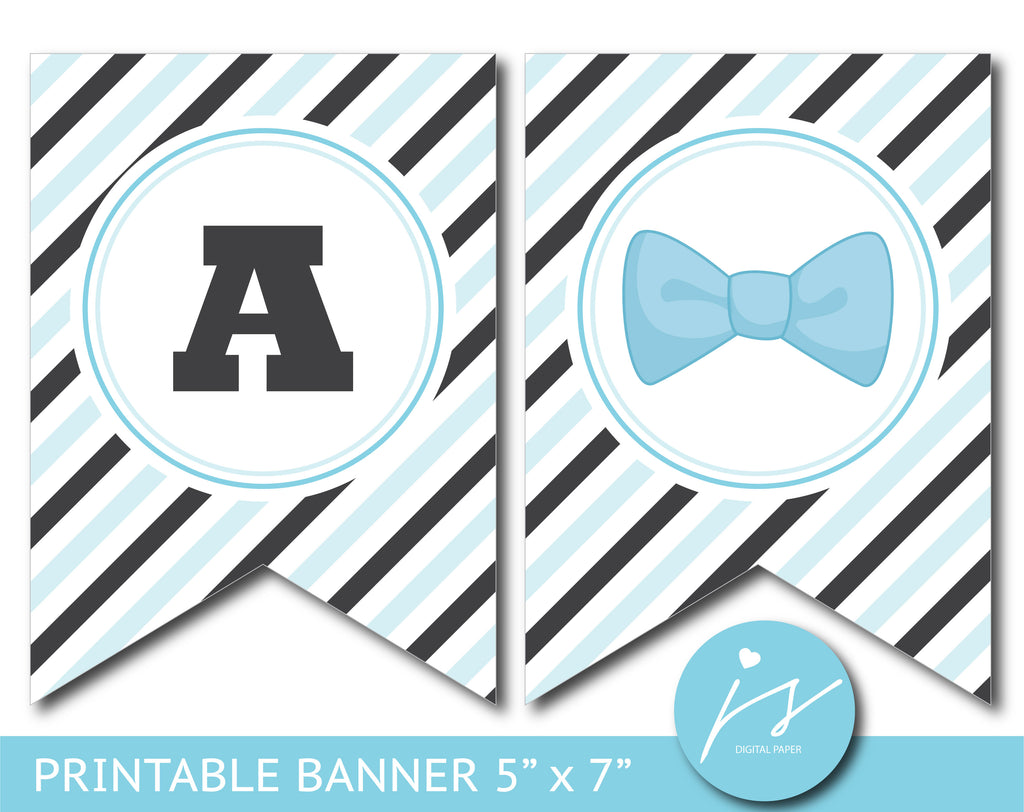 Black and blue bowtie baby shower printable banner, BM5-21