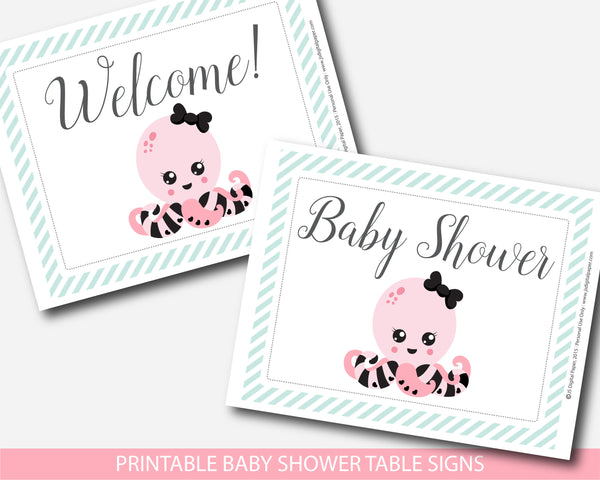 Baby shower octopus themed table signs, Octopus theme baby decor, BN1-07