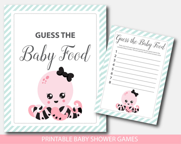 Baby shower octopus baby food game, BN1-13