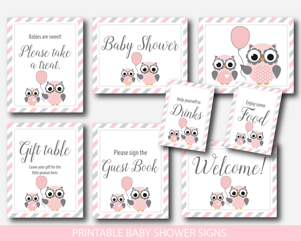 Owl Baby Shower Table Signs, Gift Table Signs, Take A Treat Sign, Sign