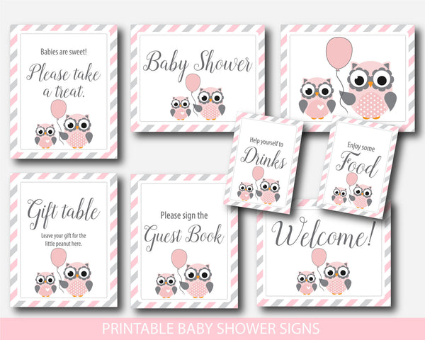 Owl baby shower table signs, Gift table signs, Take a treat sign, Sign the guestbook, Pink owl welcome baby shower sign, BO1-07