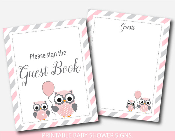Owl baby shower table signs, Woodland owl gift table signs, Pink owl baby shower signs, BO1-07