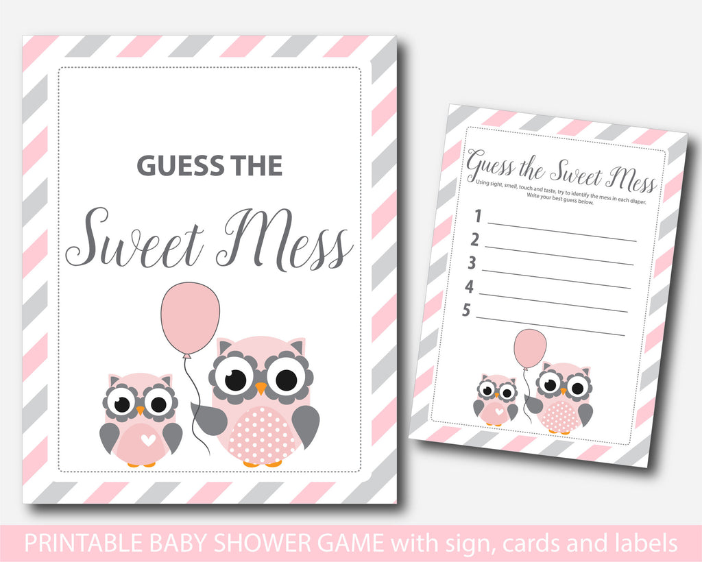 Owl dirty diapers baby shower game, Pink owl guess the sweet mess, Owl baby shower dirty diaper game, Diaper game card & sign, BO1-12