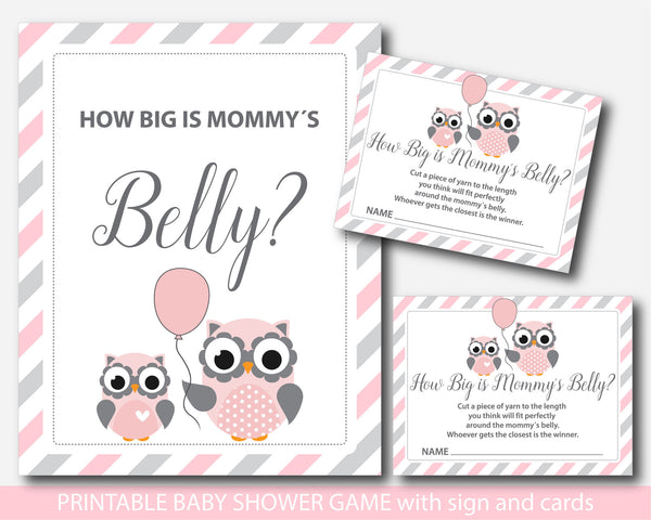 Owl How big is mommy´s belly game, Owl baby shower belly game with cards and table sign, Belly guessing game, Moms belly game, BO1-13