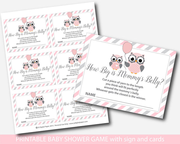 Woodland owl how big is mommy´s belly game, Owl baby shower belly game with cards and table sign, Owl belly guessing game, BO1-13
