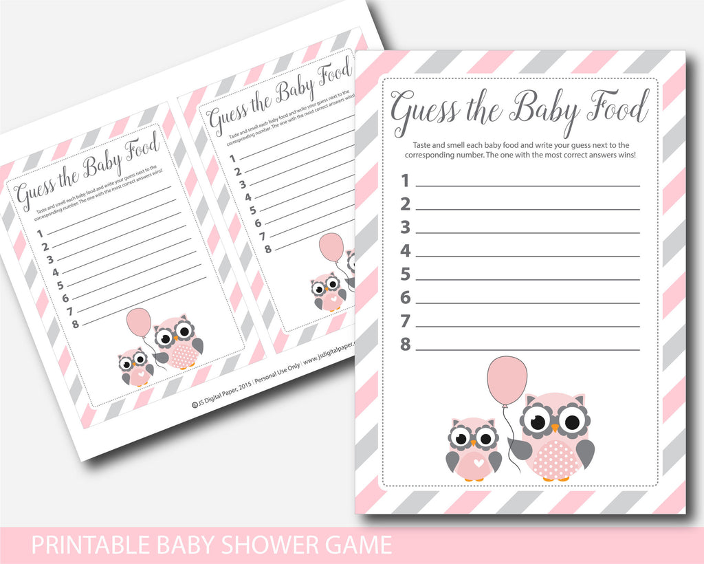 ... Owl Baby Food Game, Owl Guess The Baby Food Game, Pink Owl Baby Shower  ...