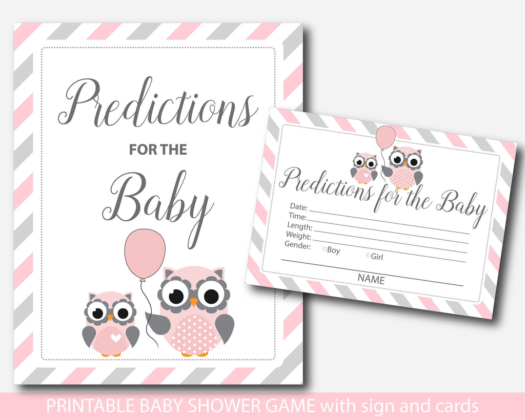 Owl baby shower predictions, Owl predictions for the baby with cards and sign, Owl prediction cards, Woodland prediction baby cards, BO1-17