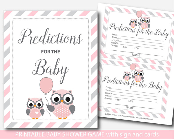 Owl baby shower predictions, Owl predictions for the baby with cards and sign, Woodland prediction baby cards, BO1-17