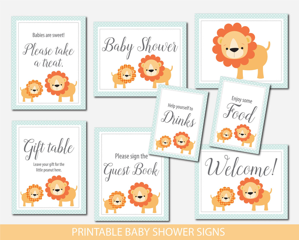 Lion table signs, Safari table signs, Jungle table signs, Safari baby shower table signs, Lion baby shower table signs, Safari table signs, BS1-07