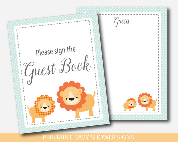 Lion table signs, Lion baby shower table signs, Safari themed table signs, BS1-07