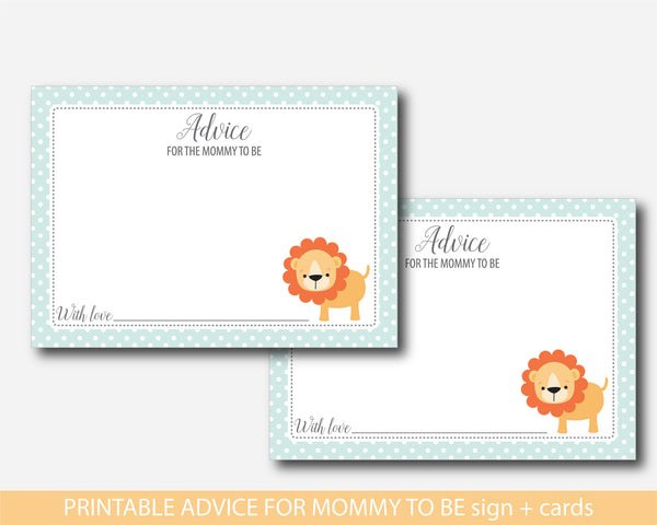 Lion baby advice cards, Lion baby shower advice for mommy cards, BS1-09