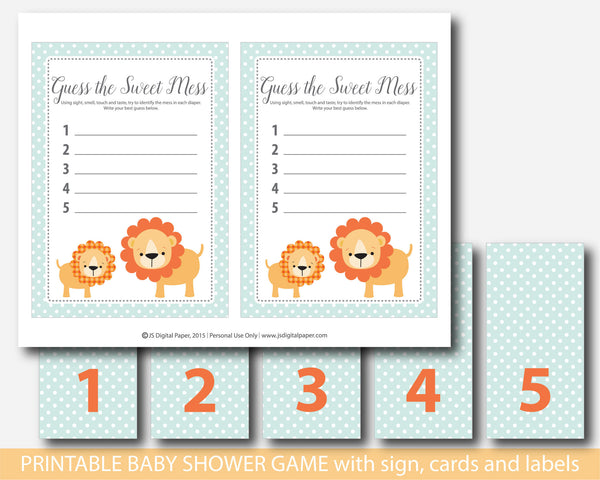 Lion Guess the sweet mess, Safari Guess the sweet mess, Jungle Guess the sweet mess, Safari baby shower sweet mess cards, Safari baby food game, BS1-12