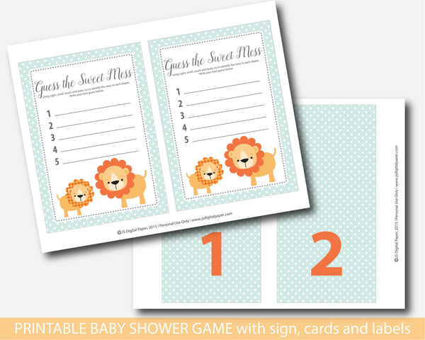Lion guess the sweet mess, Lion baby shower sweet mess cards, Lion baby food game, BS1-12