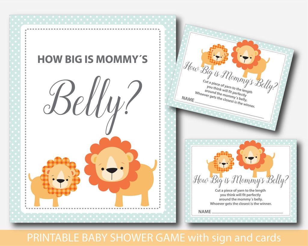 Lion How big is mommy´s belly game, Safari belly game with cards and sign, Jungle belly game, Safari belly guessing game, BS1-13