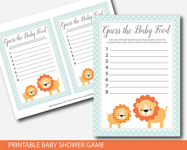 Lion Guess the baby food, Safari Guess the baby food, Jungle Guess the baby food, Safari baby shower baby food game, Jungle baby food game, BS1-15