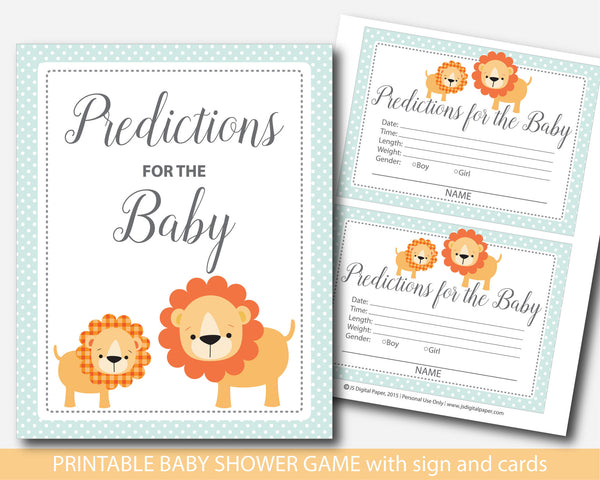 Lion baby predictions, Safari baby predictions, Jungle baby predictions, Safari baby shower prediction cards with sign, Lion baby shower predictions, BS1-17