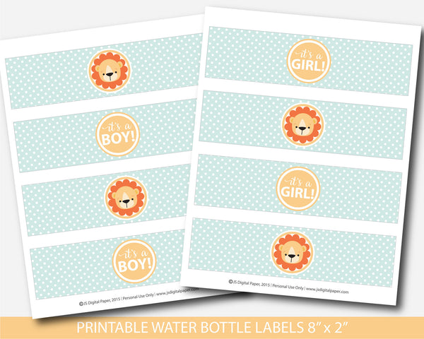 Lion water bottle labels, Lion baby shower water labels, Lion baby drink labels, BS1-18