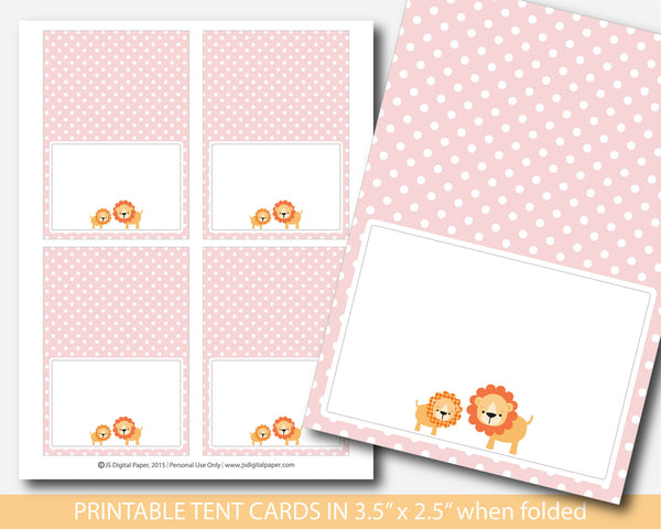 Pink lion buffet cards, Pink safari buffet place cards, BS2-10