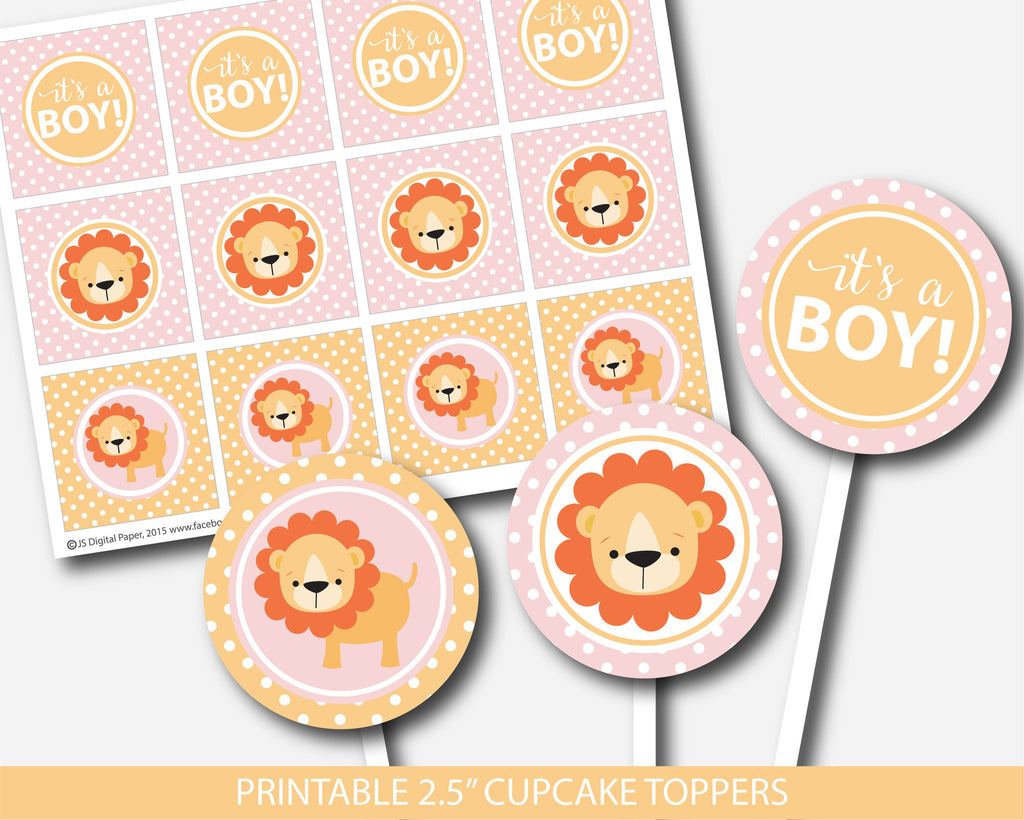 Lion cupcake toppers, Safari cupcake toppers, Jungle cupcake toppers, Lion toppers, Safari toppers, Jungle toppers, Baby shower cupcake toppers, BS2-11