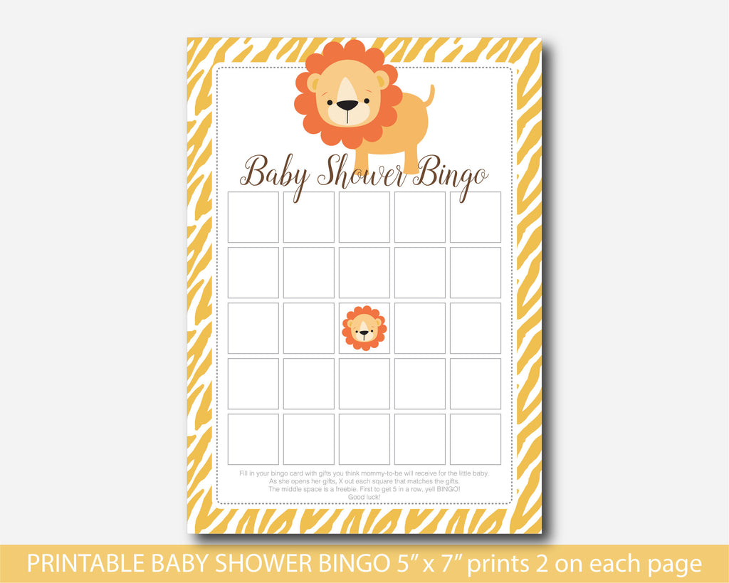 Jungle Bingo Cards, Lion Bingo Cards, Safari Bingo Cards, Safari Baby  Shower Bingo