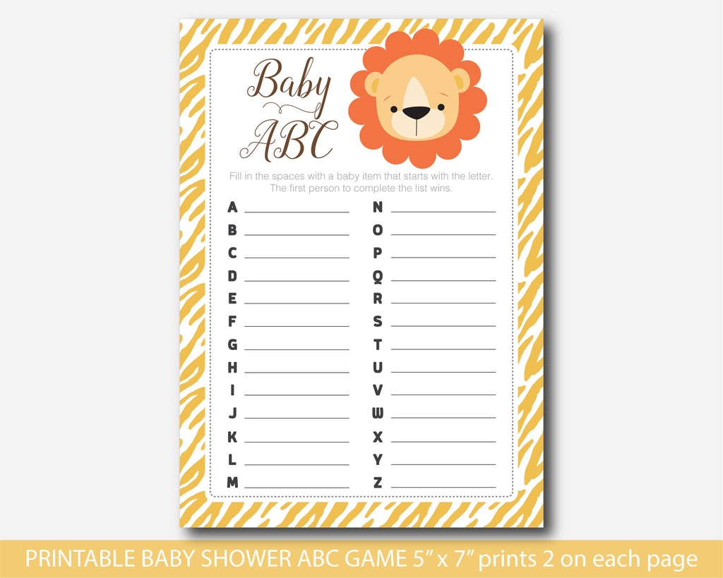 Jungle ABC game, Lion ABC game, Safari ABC game, Safari baby shower ABC game, Lion baby shower ABC game, Safari ABCs, BS3-04