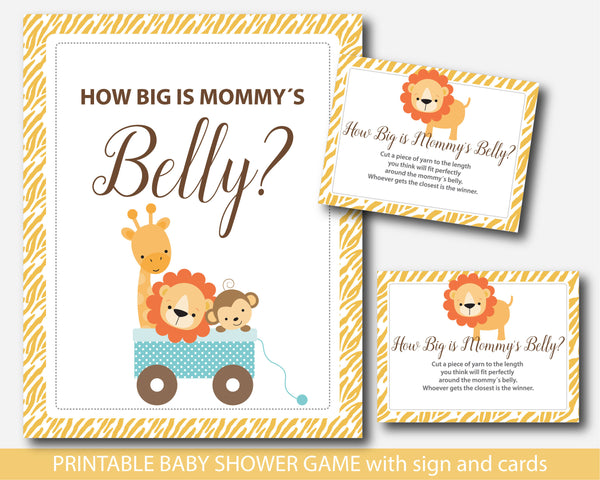 Jungle belly game, Lion How big is mommy´s belly game, Safari belly game with cards and sign, Safari belly guessing game, BS3-13