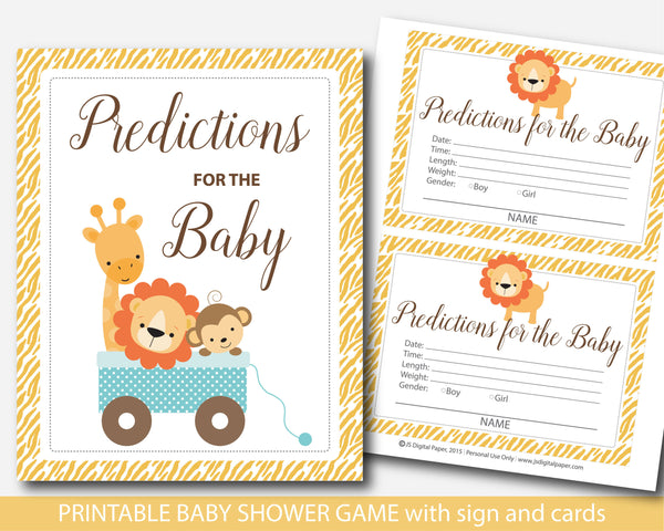 Jungle baby predictions, Lion baby predictions, Safari baby predictions, Safari baby shower prediction cards with sign, Lion baby shower predictions, BS3-17