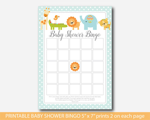 Safari bingo cards, Lion bingo cards, Jungle bingo cards, Safari baby shower bingo cards, Lion baby shower bingo cards, Safari bingo games, BS4-02