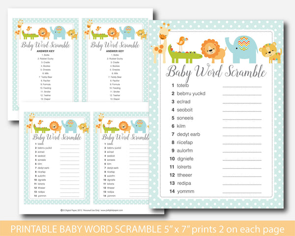 Safari word scramble, Lion word scramble, Jungle word scramble, Safari baby shower word game, Lion baby shower word game, Safari word game, BS4-03
