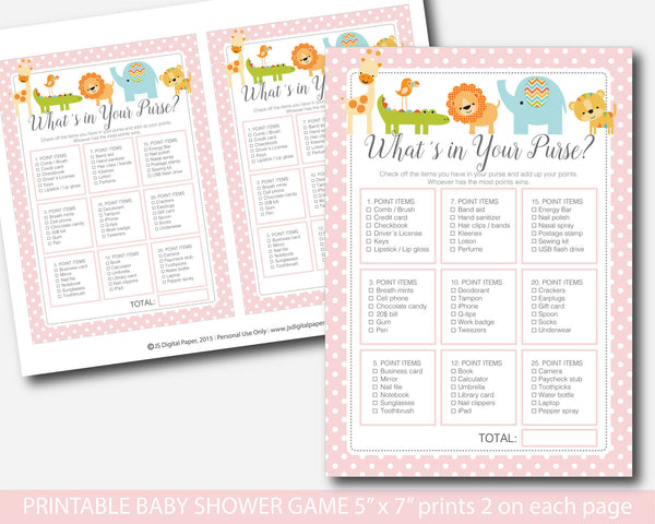 Baby shower giraffe what´s in your purse game, Zoo animals what´s in your purse baby shower games, BS5-06