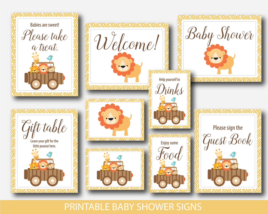 Lion table signs, Zoo table signs, Jungle table signs, Safari baby shower table signs, Lion baby shower table signs, Safari table signs, BS6-07