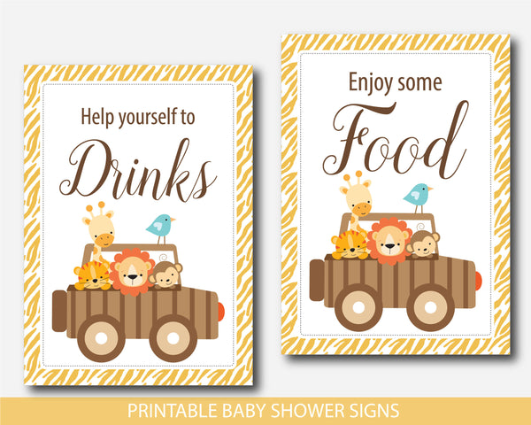 Jungle baby shower table signs, Safari animals baby shower decoration signs, BS6-07