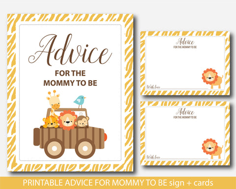 Zoo advice cards, Safari advice cards, Jungle advice cards, Safari baby shower advice for mommy cards, Jungle baby shower advice cards, BS6-09
