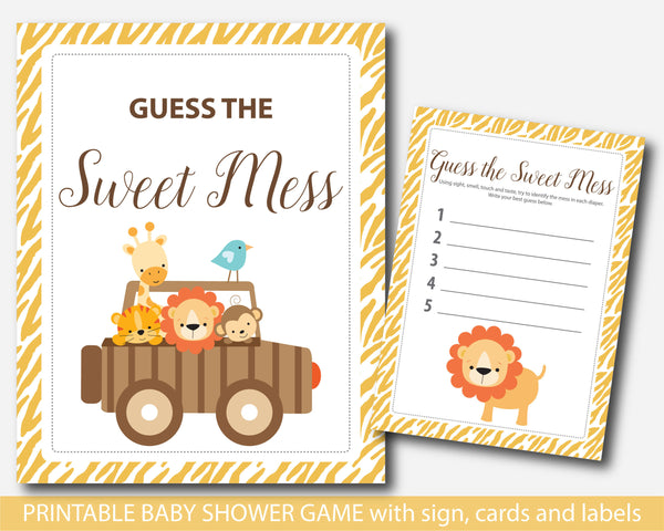 Zoo Guess the sweet mess, Safari Guess the sweet mess, Jungle Guess the sweet mess, Safari baby shower sweet mess cards, Safari baby food game, BS6-12