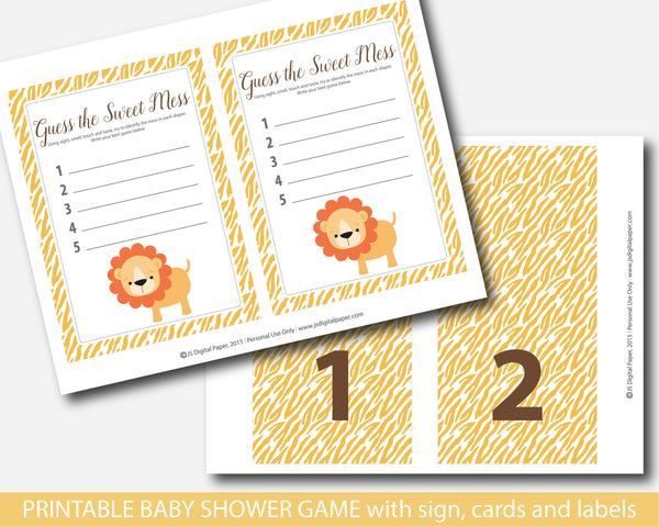 Baby shower jungle guess the sweet mess game, Jungle sweet mess cards, Safari animals baby food game, BS6-12