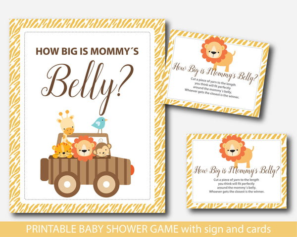 Zoo How big is mommy´s belly game, Safari belly game with cards and sign, Jungle belly game, Safari belly guessing game, BS6-13