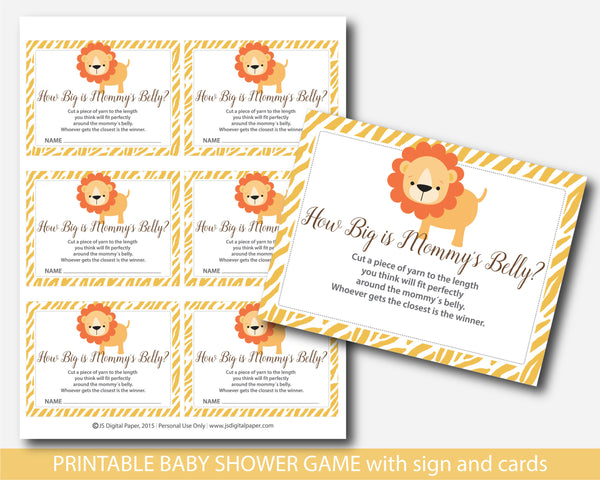 Jungle how big is mommy´s belly game, Jungle baby shower belly game with cards and sign, BS6-13
