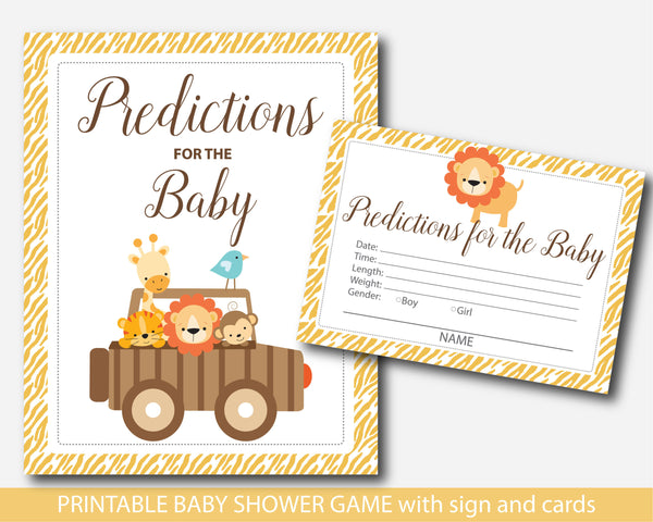 Zoo baby predictions, Safari baby predictions, Jungle baby predictions, Safari baby shower prediction cards with sign, Lion baby shower predictions, BS6-17